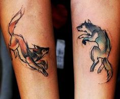 two wolves tattoo sibling tattoos two wolves couple tattoos sibling my . Tattoo L, Get A Tattoo, Body Art Tattoos, Sleeve Tattoos, Frida Tattoo, Tattoo Wave, Shape Tattoo, Tattoo Outline, Makeup Tattoos