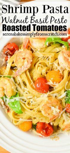 Shrimp Pasta In Walnut Basil Pesto With Roasted Tomatoes