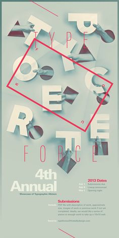 Poster for Typeforce, an annual gallery show and event organized and curated by Firebelly Design and Public Media Institute.
