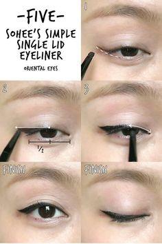 Make-up 6 K-pop Inspired Korean Style Eyeliners Tutorial Makeup Korean Style, Korean Makeup Tips, Asian Eye Makeup, Korean Makeup Tutorials, Makeup Style, Beauty Makeup, Korean Makeup Tutorial Natural, Beauty Tutorials, Beauty Tricks