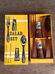 Vintage Salad Set Nashville Tennesse Wood by JadeandLoren on Etsy