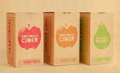 Fruit juice with unique designs and one colour to keep the packaging simple.: