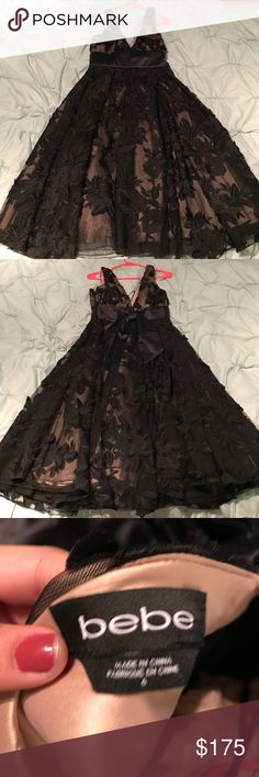 Gorgeous Bebe dress with beautiful lace detail Dress from bebe that is so beautiful! Eyes will be on you all night! Only worn once at an opera house bebe Dresses Midi