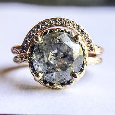 PERFECT. Inigo ring with 3 carat salt & pepper diamond with custom contoured wedding band.