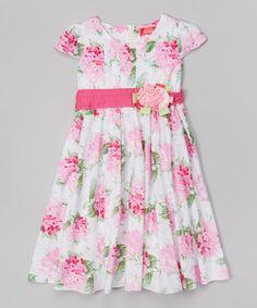 Look at this #zulilyfind! Pink & White Floral Cap-Sleeve Dress - Toddler & Girls #zulilyfinds