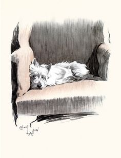 Cecil Aldin - Without the pup, just an empty chair. With the pup, a warm welcome.