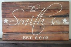 Last Name and Wedding Date with Stars Barnwood Sign by MsDsSigns, $35.00