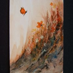 art painting butterfly floral original aceo ref 107