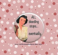 Retro 50s Nurse Pin Magnet All Bleeding Stops by NorthwoodsButtons