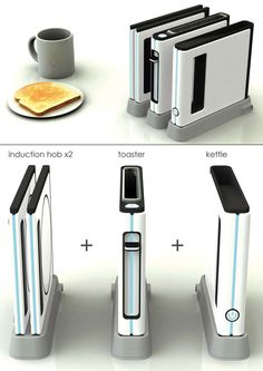 Space Saving Kitchen Range – Modular Kitchen Appliance by Shin Woosup-What a wonderful idea, one modular appliance that is efficient enough to prepare the entire breakfast. A toaster, a kettle and an induction hob, that's what the Modular Kitchen Appl Design Lab, Cool Toasters, Small Appliances, Kitchen Appliances, Tiny House, Space Saving Kitchen, Bunk Bed Designs, Outdoor Kitchen Design, My New Room