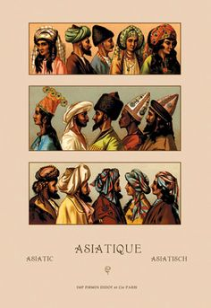 A Variety of Asiatic Head-Coverings #1, by Auguste Racinet