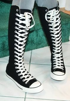 2014 knee high converse sneaker boots, black converse high top sneakers, black lace up sneaker boots