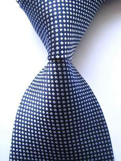 New Classic Patterns Blue White JACQUARD WOVEN 100% Silk Men's Tie Necktie #Classic #NeckTie