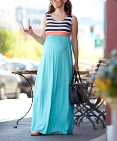 Look what I found on #zulily! Teal & Coral Stripe Maternity Maxi Dress #zulilyfinds