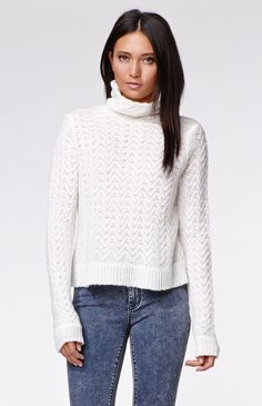 """The women'sTurtleneck Pullover Sweater by Kendall & Kylie for PacSun and PacSun.com offers a soft fabric and cute cropped cut. We love the turtleneck style for a cozy look. Wear this stylish sweater with our skirts and boots!20"""" length27"""" sleeve lengthMeasured from a size smallModel is 5'9"""" and wearing a small64% acrylic, 27% nylon, 9% woolHand wash onlyImported"""