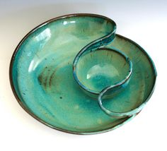 Chip and Dip, handmade ceramic dish, ceramics and pottery. $85.00, via Etsy.