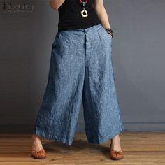 2018 ZANZEA Plus La Taille Femmes Rayé Pantalon Taille Haute Jambe Large Pantalon  Femme Poches Casual 7539b569b85