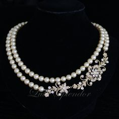 Bridal Pearl Necklace Gold Wedding Necklace by LuluSplendor