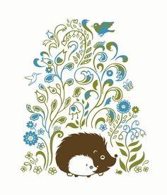 Hedgehog Spring Print Art  Animals Flowers Aqua by SepiaLepus, $18.00