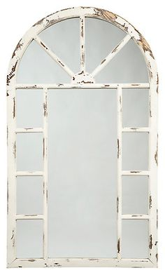 Signature Design Divakar Accent Mirror - Ashley Furniture about great window dressing. With its farmhouse window styling, the Divakar accent mirror is sure to grace your space in a beautiful way. The heavily distressed white finish mimics the Home Decor Mirrors, Diy Home Decor, Wall Mirrors, Wall Decor, Window Mirror Decor, Bedroom Mirrors, Garden Mirrors, Decor Room, Mirror Mirror