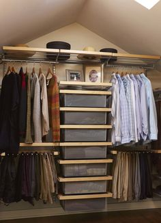 Men S Small Closet Organizer Idea Equipped With Bag Hangers Shelving System Vertical Arranged Box Storage And Upper Shelf Of Organizers