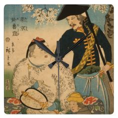 """Chinese Man with Paintbrush - Japanese Vintage Art - accent wall clock Vintage Art Wall Clock It""""s time to show off your favorite art, photos, and text with a custom round wall clock from Zazzle. Featured in two sizes, this wall clock is vibrantly printed with AcryliPrint""""HD process to ensure the highest quality  #accents #clock #art #home #style #design #gifts #japanese #chinese #vintage #wallclock"""