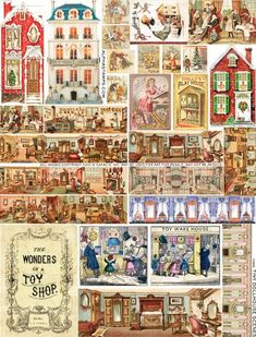 Tiny Dollhouse Scenes Collage Sheet | Alpha Stamps Dollhouse Dolls, Dollhouse Miniatures, Victorian Toys, Minis, Punch And Judy, Toy Theatre, Paper Dolls Printable, Circus Art, Fabric Dolls