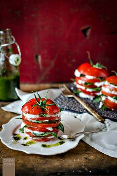 Caprese Stack with Basil Oil | Chew Town Food Blog