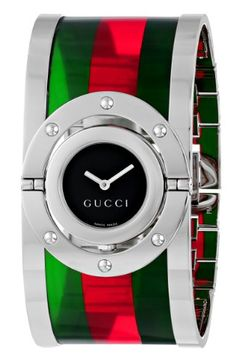 Gucci Women's YA112417 Twirl Medium Green Red Green Acetate Bangle Watch