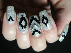aztec nail art #glitter #nailvinyls #ablecaw14