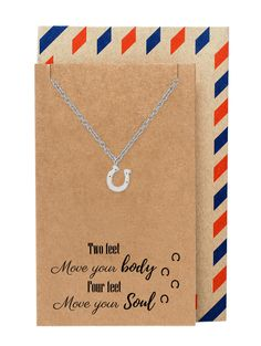 "Guaranteed safe and secure checkout via: Paypal | VISA | MASTERCARD Click Add to Cart now to order! Satisfaction guaranteed or your money back! Shipping & Returns Why We Love It Show someone how much you appreciate their love for horses with our Danielle Horseshoe Necklace, Good Luck Gifts for Horse Lovers. This horseshoe jewelry makes a great horse lover gifts. This lucky horseshoe necklace comes with a greeting card with a quote that reads: ""Two feet move your body. Four feet move your…"
