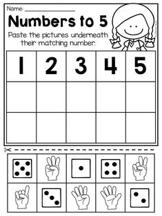 Numbers to 5 worksheet for kindergarten. This packet is jammed full of worksheets to help your students practice numbers to It includes 28 engaging worksheets which allow students to practice counting, number formation, number representation, number or Numbers Kindergarten, Numbers Preschool, Kindergarten Math Worksheets, Learning Numbers, Math Numbers, Preschool Learning, Math Activities, Number Worksheets, Teaching