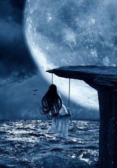 I love everything having to do with the moon, stars, clouds, etc. So, I would LOVE to be sitting on the swing watching the moon =) Fantasy Magic, Fantasy World, Fantasy Kunst, Fantasy Art, Illustrations Poster, Ciel Nocturne, Moon Magic, Beautiful Moon, Moon Art