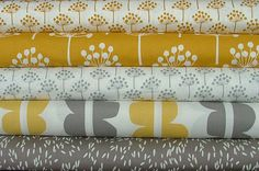 Echo in Yellow & Grey by Lotta Jansdotter...just bought the top 2 for a Quilted wall hang I'm working on in shades of grey and chartreuse...perfect!