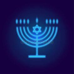 Logo Hanukkah Neon Jewish holiday Hanukkah retro background with traditional Chanukah symbol menorah - candelabrum candles, star of David icon and glowing lights, place for text, template wallpaper, Hanukah pattern vector illustration. Hanukkah Symbols, How To Celebrate Hanukkah, Retro Background, Hannukah, Menorah, Star Of David, Illustrations, Logo Nasa, Art Logo