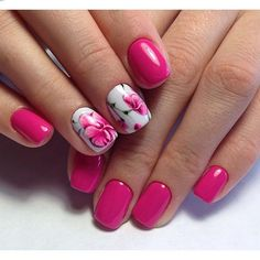 Beautiful nails 2016, Light summer nails, Manicure by summer dress, Nails under raspberry dress, Orchid nails, Pink nails with patterns, Raspberry nails, ring finger nails