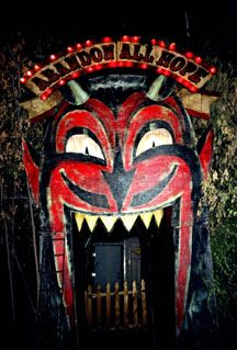 """Mouth entrance at John Dunivant's """"Theatre Bizarre"""" in Detroit. Theatre Bizarre is an annual Halloween masquerade staged in a largely abandoned residential neighborhood on the northernmost edge of Detroit #mouth #door #devil - Carefully selected by GORGONIA www.gorgonia.it"""