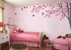 wall decal branch with flying birds vinyl baby wall decal nursery tree decal branch decal wedding wall decal-DK012. $49.00, via Etsy.