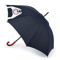 Navy Heart Hands Kensington Umbrella: Keep grey skies at bay with our classic Kensington walking umbrella. Featuring Lulu's new SS17 Heart Hands motif and complemented by a striking red crook handle with embossed Lulu Guinness logo, getting caught in the rain just got a little more stylish!   - Visit Lulu Guinness at http://www.luluguinness.com/