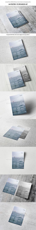 A4 Poster / Flyer Mock-Up (Photoshop PSD, CS3, 3000x2250, a4, background, design, flyer, high resolution, letterhead, mock-up, mockup, page, paper, poster, presentation, print, white, wood)