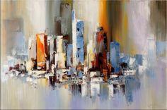 Frankfurt am Main Skyline - Abstract Oil Painting on Canvas - 399 Euro