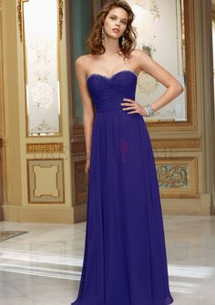 Modest Ball Gown Floor Length Ruched Ruffles Beading Chiffon Cheap Bridesmaid Dresses Under 150 Sale