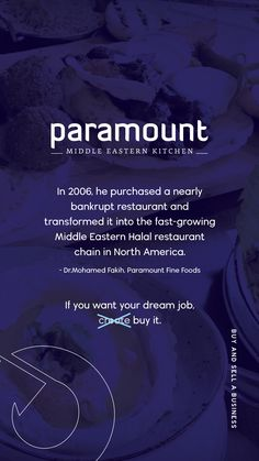 When you have a passion for good food, your dreams will take you far. This business owner had a vision and despite the challenges, he persevered and created a worldwide chain. This is more than a restaurant. It's a way for people to connect through traditions and great food. You can do this too! Join Buy And Sell A Business. #business #entrepreneur #smallbusiness #businessowner #buyandbuild #buyabusiness SearchBuyandSellaBusiness #betheboss #buyandsellabusiness #BuyIt #ParamountFoods Buy And Sell Business, Selling A Business, Online Business, Be The Boss, Looking To Buy, Business Motivation, Fast Growing, Business Entrepreneur, Dream Job