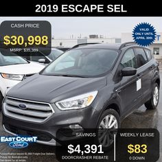 """Stock# 04.16 - 97024  $0 DOWN, 0% APR, LEASE FOR $83/WEEK FOR 48 MONTHS.  The all new 2019 Escape SEL loaded with 300A Pkg + Ford Safe/Smart + Sun/Style Package which has:  >1.5L Ecoboost Engine (great mileage + outstanding power)  >18"""" Alloy Wheels - that large and sexy design to impress anyone at first sight  >Huge Panoramic Vista Roof to give you an unmatched sky view from any corner of car  >Lane Keeping system - just in case if you go out of lane by mistake, the steering wheel .... Ford Employee, Car Deals, Sky View, 2019 Ford, Car Ford, Alloy Wheel, Good News, Ontario, Just In Case"""