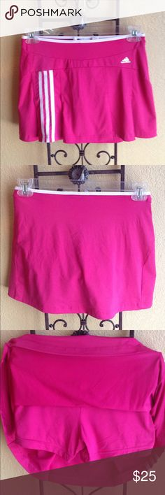 Adidas Tennis Skirt with Built In Shorts Adidas Tennis Skirt with Built in Shorts Size-S Hot pink and white Nylon and spandex Length 13 inches adidas Skirts Mini Tennis Clothes, Pink Adidas, Fashion Design, Fashion Tips, Fashion Trends, Adidas Women, Hot Pink, Gym Shorts Womens, Spandex