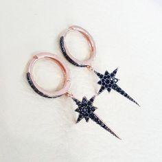 Earrings-Pole Star Earrings -solid silver- dangle earrings-onyx stone-rose gold by CoqoshJewelry on Etsy https://www.etsy.com/listing/291997007/earrings-pole-star-earrings-solid-silver