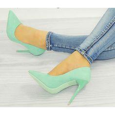 Dámské semišové lodičky tyrkysové barvy - manozo.cz Beautiful Shoes, Stiletto Heels, Pumps, Fashion, Cute Wedges Shoes, Moda, Cute Shoes, Fashion Styles, Court Shoes