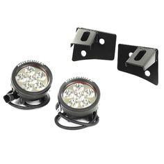 Windshield Bracket LED Light Kit, Round, 07-15 Jeep Wrangler by Rugged Ridge