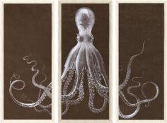 "The Octopus Triptych -A DIY Art Project Idea. Amazing ""knock-off""."