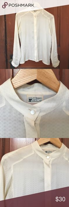 "Vintage Courreges Paris Silk Ivory Blouse 100% silk blouse made in France by Courrēges Paris. Mid-eighties era? I believe the zero on the tag is the sizing, but it fits like a loose size small. Ivory color. ""C"" and reverse ""c"" is the monogram throughout. A classic! Courreges Tops Blouses"